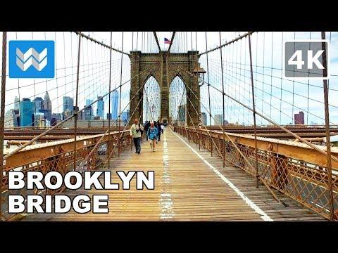 Walking across the Brooklyn Bridge in New York City 【4K】