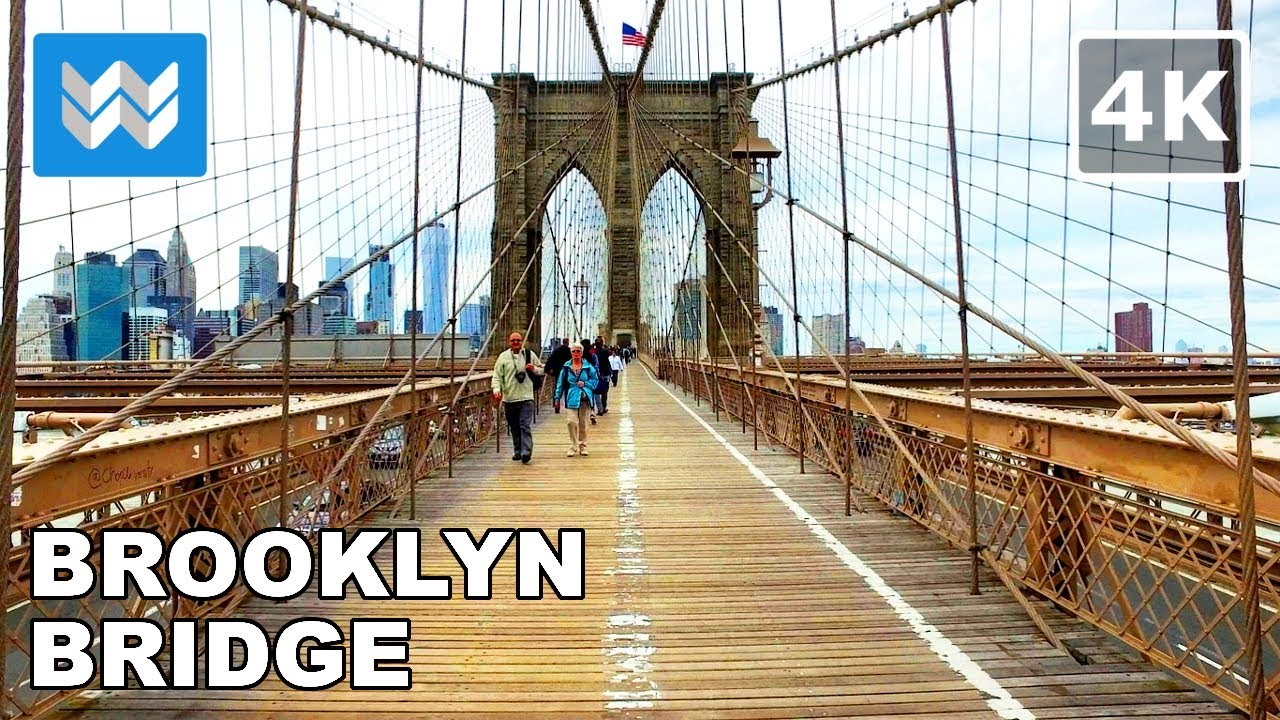 Walking Across The Brooklyn Bridge In New York City 4k