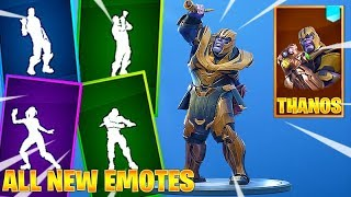 Leaked Fortnite Dance Emotes with THANOS Skin - Vivacious, Hitchhiker, My Idol, Battle Call Emotes