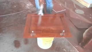 Applying Clear Lacquer Finish To A Cabinet Door.mp