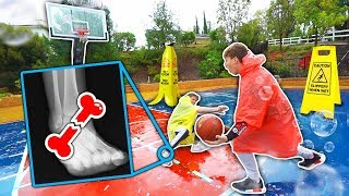Download We put a TON of SOAP on a Rainy Basketball court... ( ANKLE BREAKER ) Mp3 and Videos