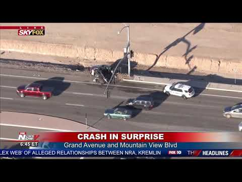 SERIOUS INJURY CRASH: Driver hurt after crashing into Surprise, AZ light pole (FNN)