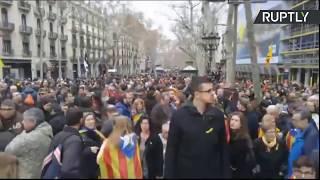 Manifestación en Barcelona tras la detención de Puigdemont