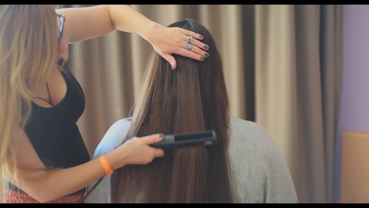 asmr long hair straightening