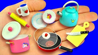 diy miniature pot, kettle, frying pan, plates and more, for a dollhouse.