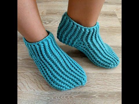 Как просто связать крючком носки  Способ 2