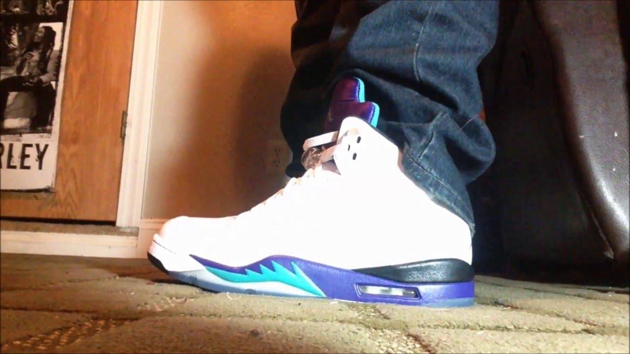 "Jordan ""Grape"" 5 On Feet +Outfit - YouTube"
