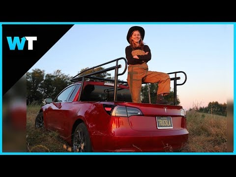 YouTuber Converts Tesla into Pickup Truck