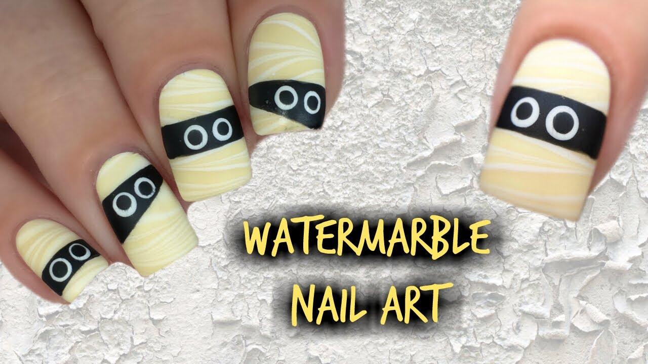 HALLOWEEN MUMMY WATER MARBLE DIY NAIL ART TUTORIAL - YouTube