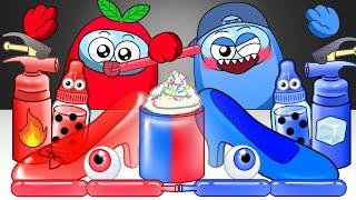 Red VS Blue Color Food Challenge - AMONGUS ANIMATION MUKBANG