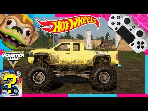 HOT WHEELS SURPRISE MONSTER JAM TOY with the CREW 2 VIDEO GAME MONSTER TRUCKS |
