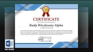 cara membuat sertifikat dengan ms word