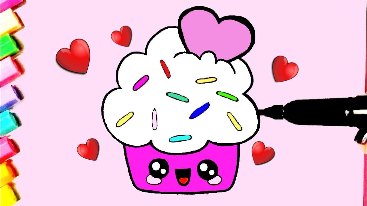 Como desenhar Cupcake fofo coração Kawaii ❤ Desenhos Kawaii - Desenhos para Desenhar