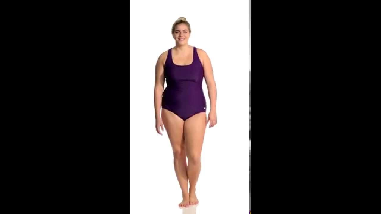 b9f3629a1f10c Speedo Conservative Ultraback Plus Size One Piece with Princess Seam ...