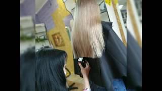 Процесс женская стрижка Мастер Ирина Приступ салон красоты La Familia salon Семейная парикмахерская