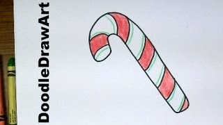 Drawing: How To Draw Cartoon Candy Canes!  Easy drawing lesson for kids and beginners