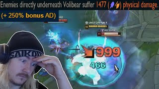 Volibear's ultimate has a 250% AD Scaling. You know what to do