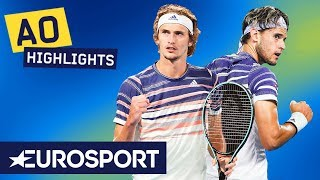 Dominic Thiem vs Alexander Zverev Extended Highlights | Australian Open 2020 Semi Finals | Eurosport