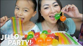 Jello Party Tik Tok Jelly Fruit \u0026 Noodle Jello Mukbang | N.E Let's Eat