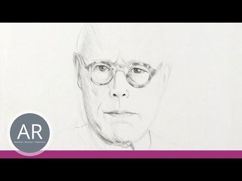 Gesichter zeichnen. Porträt eines Mannes mit Brille. Mappenkurs Kommunikationsdesign