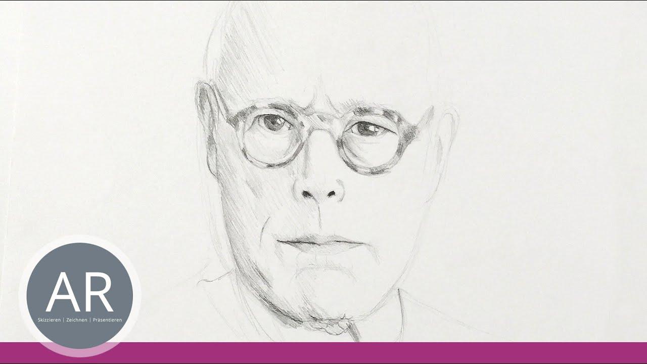 gesichter zeichnen portr t eines mannes mit brille. Black Bedroom Furniture Sets. Home Design Ideas