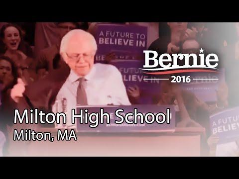 Bernie Sanders @ Milton High School in Milton, MA (Feb 29) *Recorded Livestream*