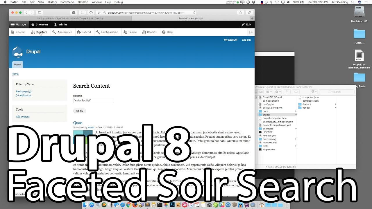 Faceted Apache Solr Search with Drupal 8
