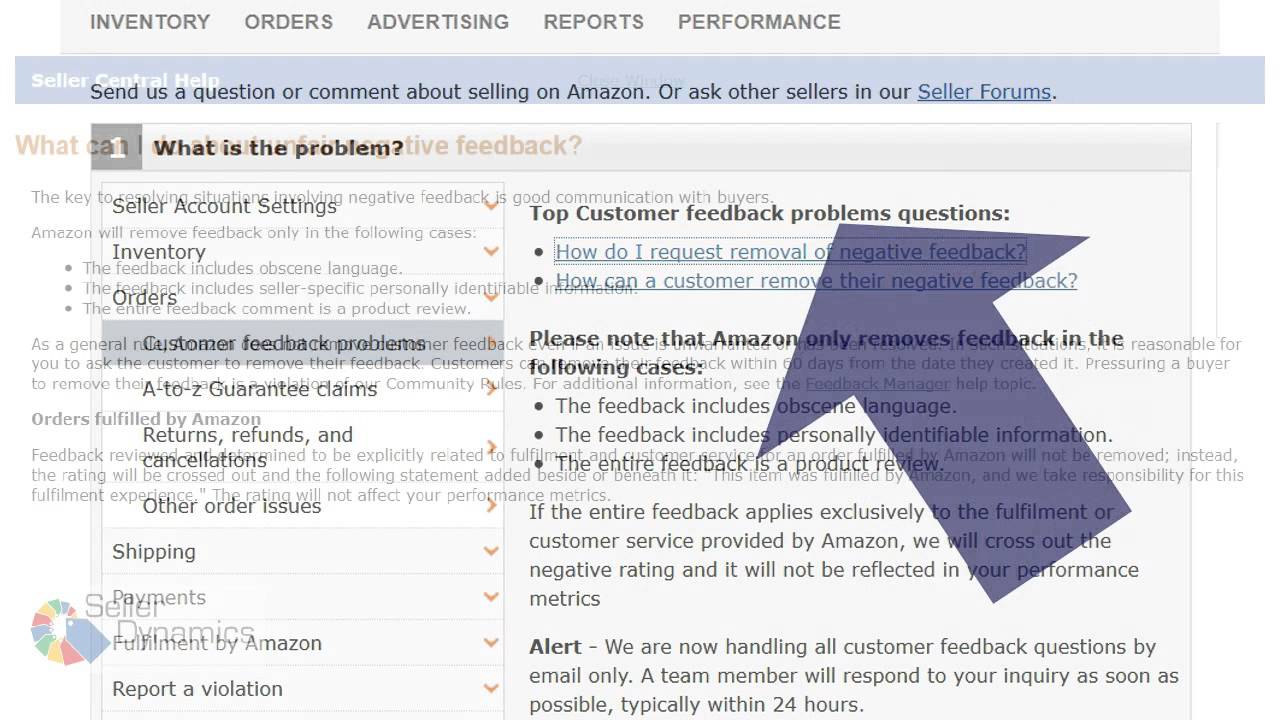 How to ask amazon to remove feedback seller dynamics