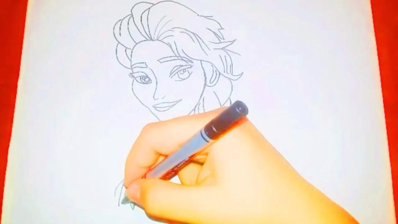 çok Kolay Frozen Elsa çizimi Youtube