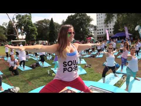 Soul Pose. Fresh music, colourful confetti, happy bubbles, new yogi friends posing together