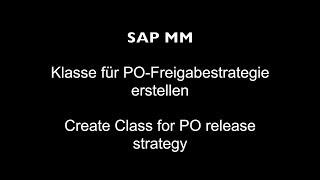 PO serbest strateji için SAP MM - Sınıf Oluştur