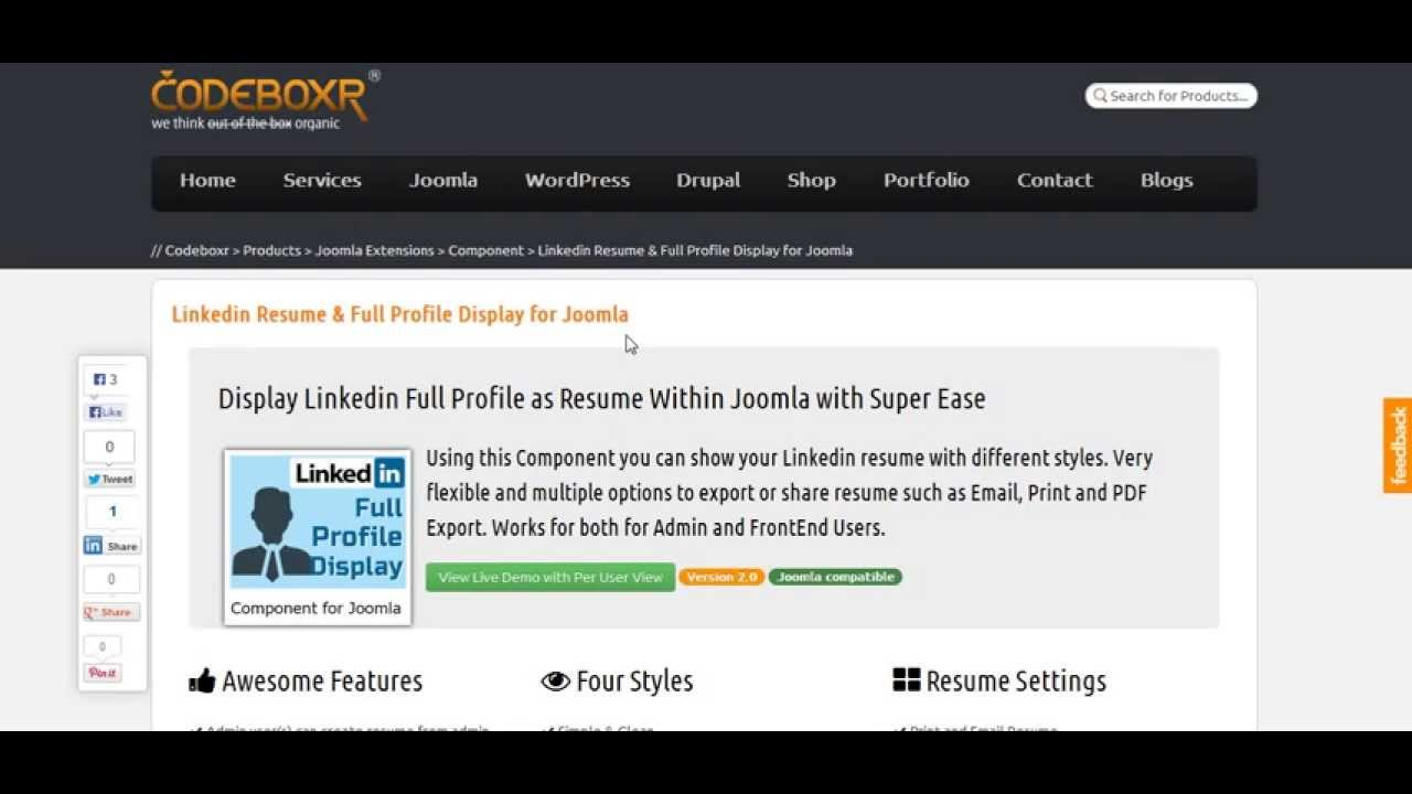 linkedin resume  u0026 full profile display for joomla