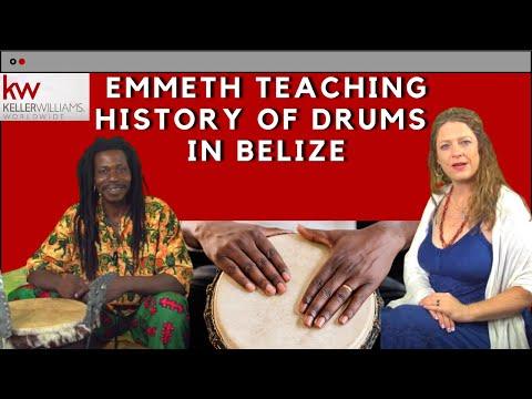 Macarena Rose meets Emmeth teaching history of Drums in Belize