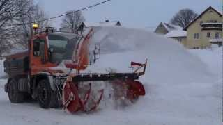Unimog U400 Kahlbacher Schneefräse Snowblower 13.12.2012 Erzgebirge