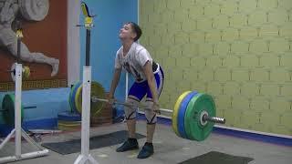 Маклаков Тимур, 14 лет, собст вес 54 Тяга с ост  у бедра 10 сек  111 кг