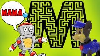 НАЙДИ БУКВЫ В ЛАБИРИНТЕ! Научи робота говорить! Мультики для детей, игрушки Щенячий патруль 2018.