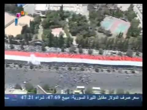 Syria Raising the Flag   in the Syrian Arab Republic Damascus