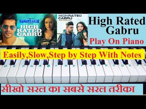 High Rated Gabru (Guru Randhawa) From Nawabzaade, Piano Turorial Step By Step With Notes