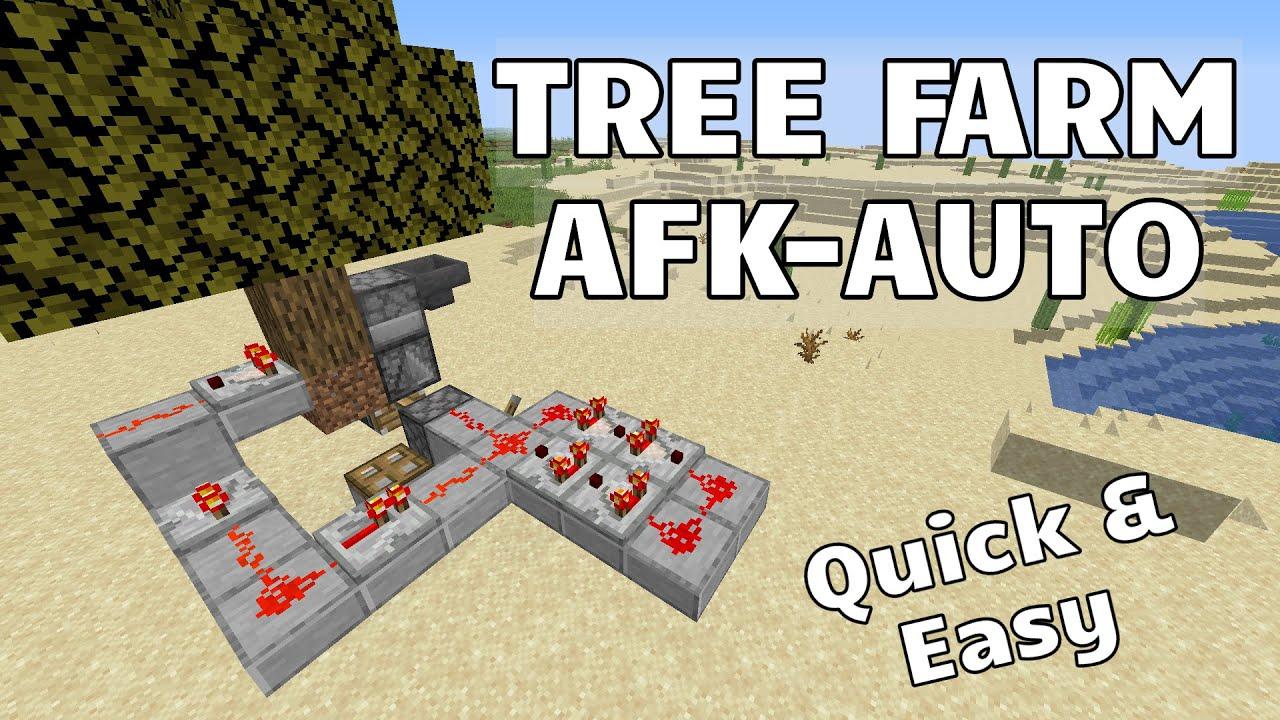 Easy Afk Tree Farm Simple Minecraft Auto Tree Farm Youtube