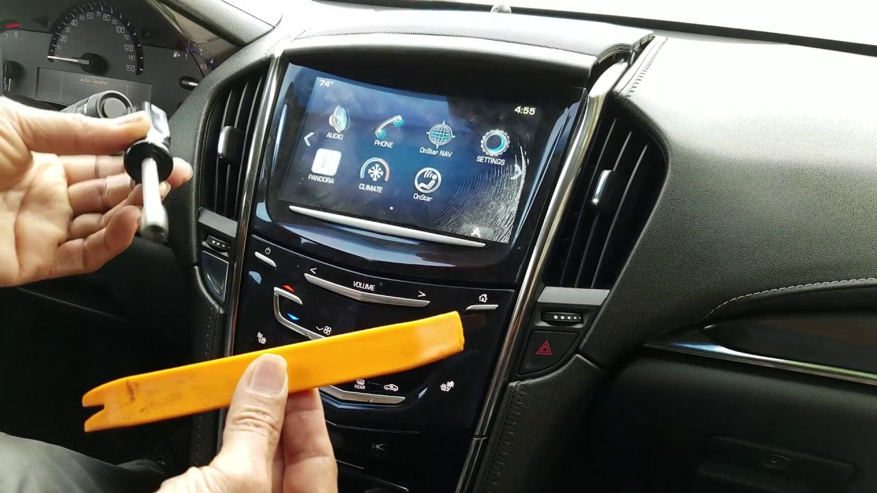 How to Remove Radio / Navigation / Touch Screen from Cadillac ATS 2013 for  Repair