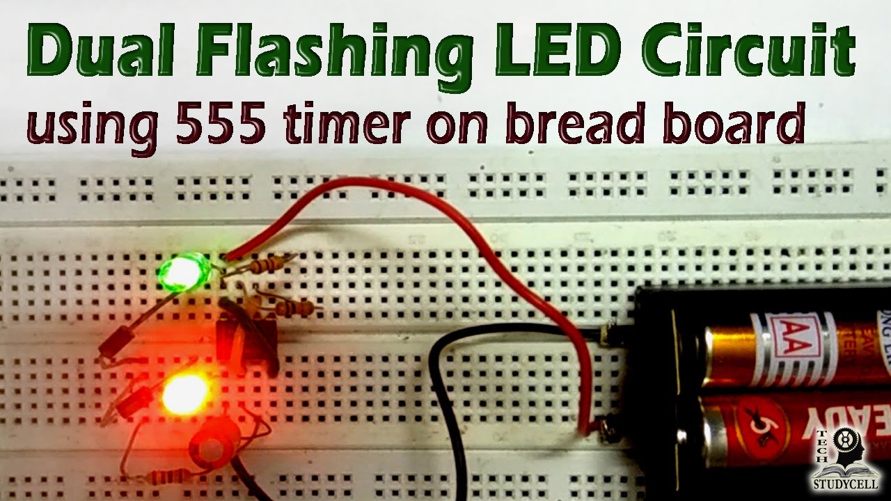 how to design dual flasher led circuit using 555 timer on breadboard easy breadboard projects [ 1280 x 720 Pixel ]