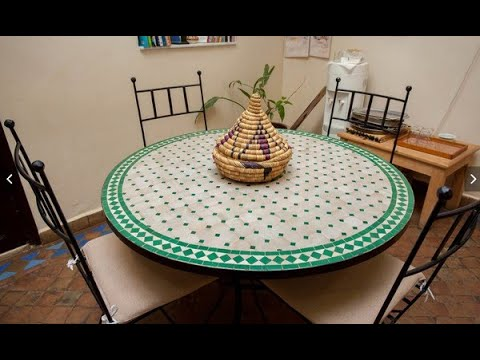Table zellige marocain fer forge salon jardin chaise - YouTube