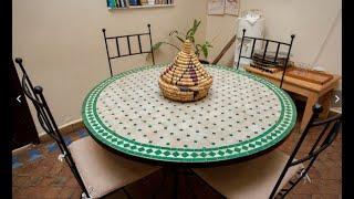 Table zellige marocain fer forge salon jardin chaise by ...