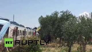 Italy: At least 20 dead after two trains collide in Puglia