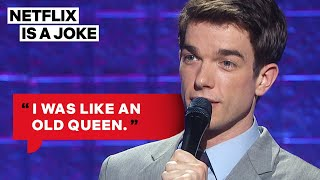 John mulaney thinks that heaven made him 3/4 a gay man, but forgot to flip the final switch completing process. watch mulaney: new in town, only on ...
