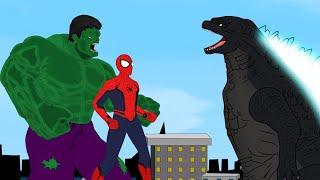 Godzilla vs Super Heros : Spiderman & Hulk & Joker - Cartoon Animation