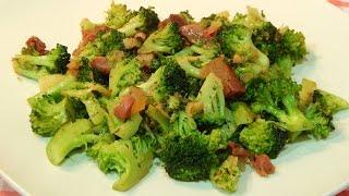 receta fácil de brócoli salteado con jamón