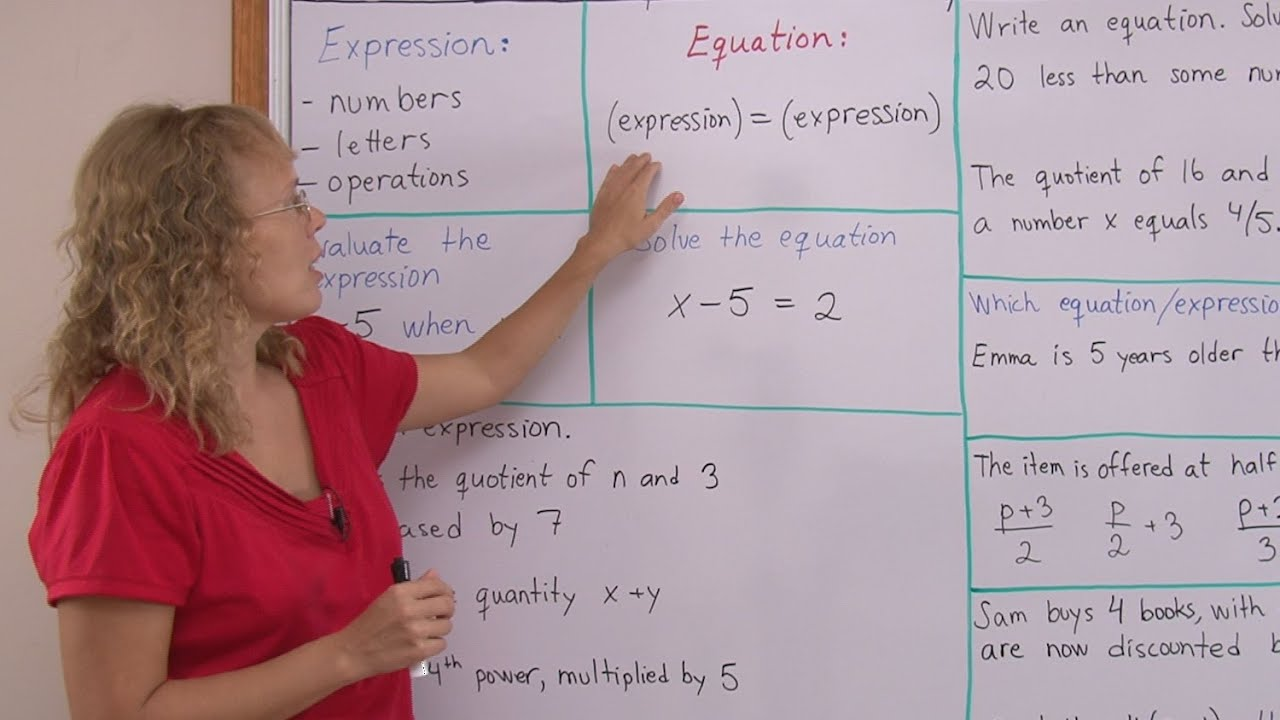 What Are Expressions And Equations Pre Algebragrade 7 Math Youtube