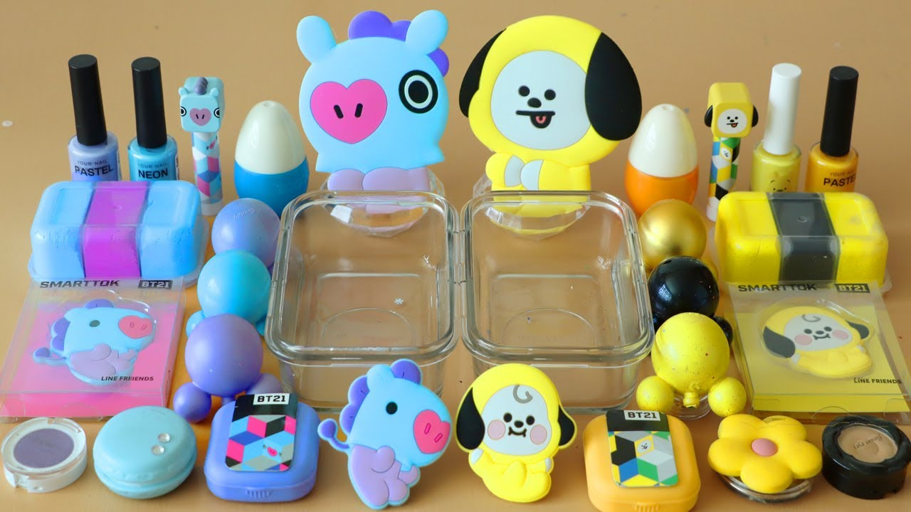 """Mixing""""BTS Mang & Chimmy""""Eyeshadow and Makeup,parts,glitter Into Slime!Satisfying Slime Video!★ASMR★"""