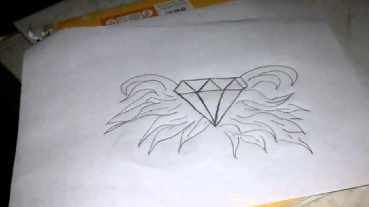 Como Desenhar Diamante Com Asas Youtube